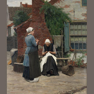 Willy Martens (Dutch, 1856-1927) Sewing and knitting in the courtyard