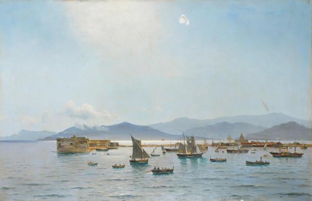 Holger Peter Svane Lübbers (Danish, 1850-1931) Harbour scene