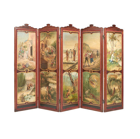 A French 19th century stained pine and polychrome decorated five-panel screen
