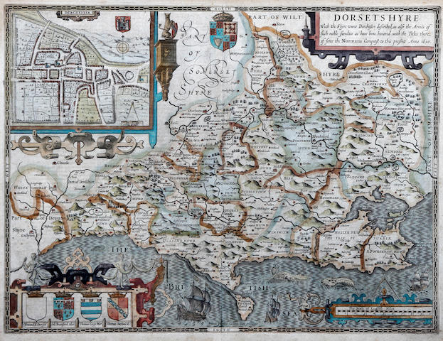 John Speed (British, 1552-1629) Lancashire and Dorset The Countie Pallatine of Lancaster Described and Divided into Hundreds 1610