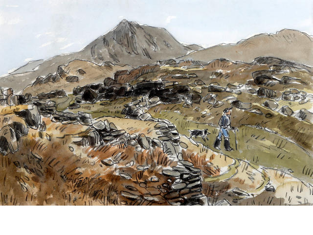 Sir Kyffin Williams R.A. (British, 1918-2006) 'Farmer and sheep dog, Snowdonia'