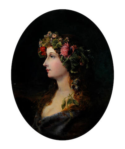 Circle of William Etty, RA (British, 1789-1849) A portrait of a young lady as Flora
