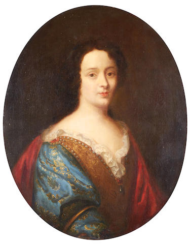 Circle of Pierre Mignard (Troyes 1612-1695 Paris) Portrait of a lady, half length, in a blue dress