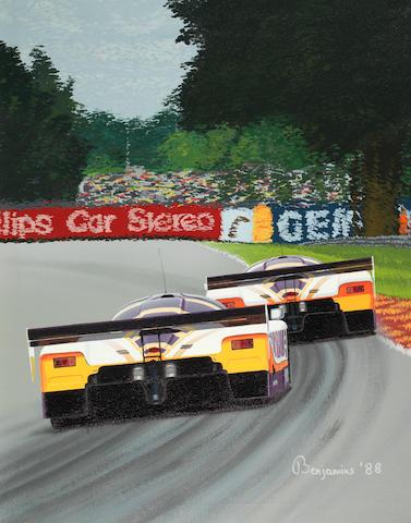 Arthur Benjamins (1953- ); 'Silk Cut Jaguar XJR-9 at Le Mans 1988',