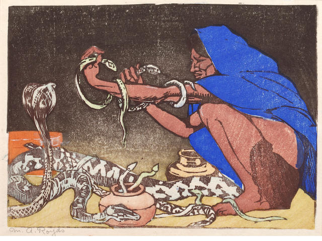 Mabel Alington Royds (British, 1874-1941) The snake charmer Woodcut with hand colouring, signed in pencil, (133 x 178 mm) (PL), together with three other coloured woodcuts, signed, but the same hand 4