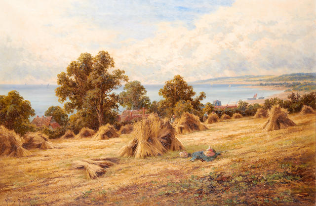 Henry H. Parker (British, 1858-1930) 'Harvest Time on the South Coast, Near Worthing, Sussex'