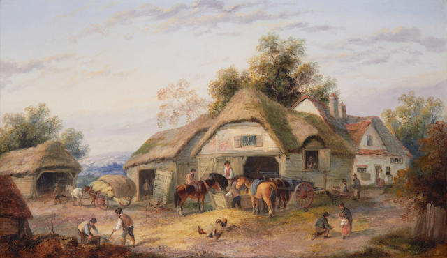 Georgina Lara (British, fl. 1862-1871) Farmyard scenes, a pair (2)