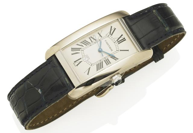 Cartier. An 18ct white gold automatic calendar wristwatch