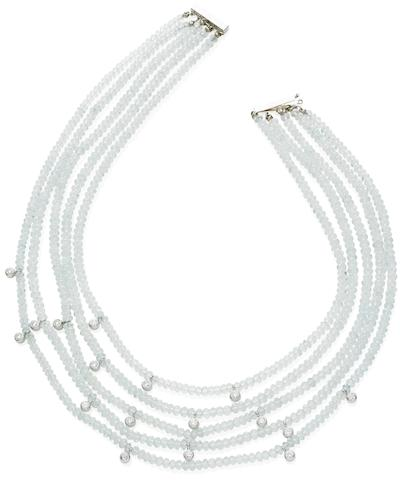 A multi-strand aquamarine and diamond necklace