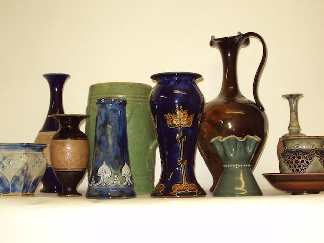 A collection of Royal Doulton and Doulton Lambeth vases