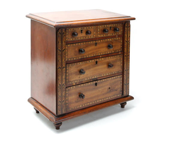 A Victorian mahogany and Tunbridge ware inlaid miniature chest of drawers