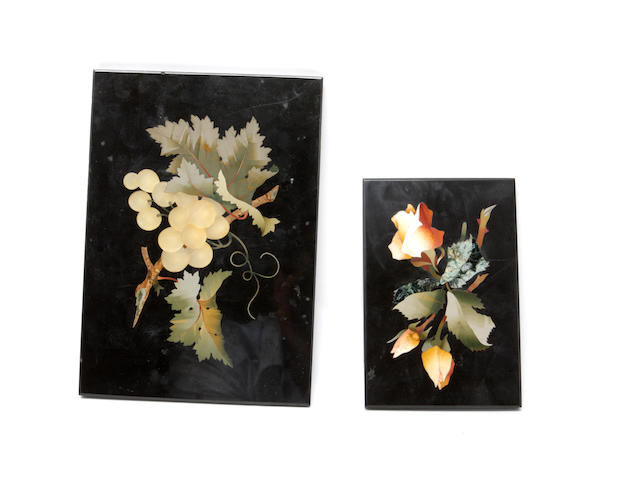Two early 20th century pietra dura  panels