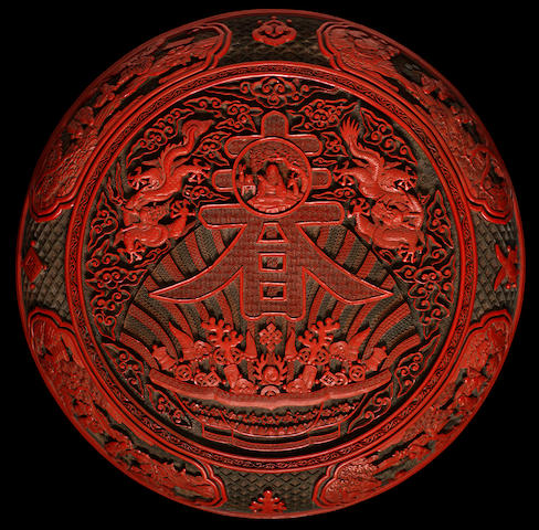 An Imperial carved three-colour lacquer 'chun' box and cover Qianlong