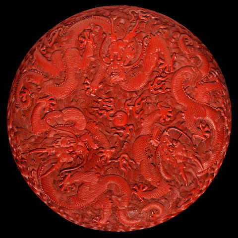 A rare red lacquer carved 'three-dragon' box and cover Qianlong