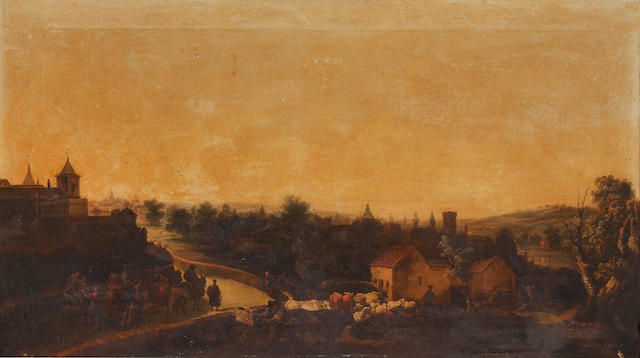 Andrés Cortés y Aguilar (Spanish, 1810-1879) View of a Spanish town with figures on horseback and workers with cattle