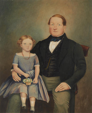 H. Larkins (fl.1840-1860) Portrait of a father and daughter; and A portrait of a lady seated at a table wearing a black dress, a pair  (2)