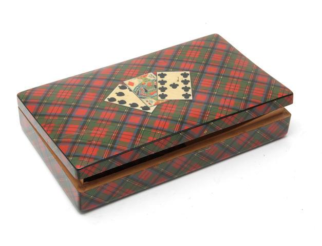 An Edwardian printed tartanware playing card box