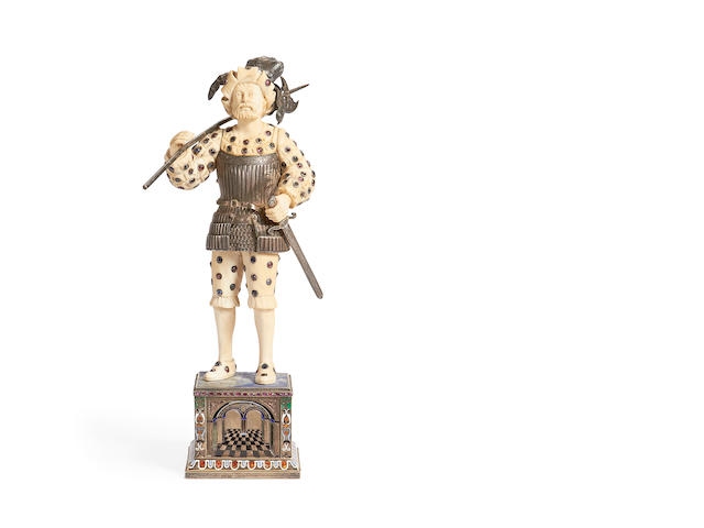 An early 20th century ivory, lapis lazuli, silver, enamel and jewel decorated figure of a pikeman in the manner of Georg Roth of Hanau, circa 1905