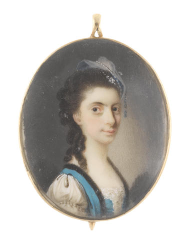 Luke Sullivan (Irish, 1705-1771) A Lady, wearing white dress with embroidered bodice and Italianate sleeves, cerulaen blue gilet with black fur trim, blue and white headpiece with bead detail, her brown hair partially upswept and curled in ringlets falling over her right shoulder
