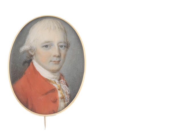 Attributed to Philip Jean (British, 1755-1802) A Gentleman, wearing scarlet coat, white waistcoat with gold detail, white stock and lace cravat, his powdered wig worn en queue and tied with a black ribbon bow