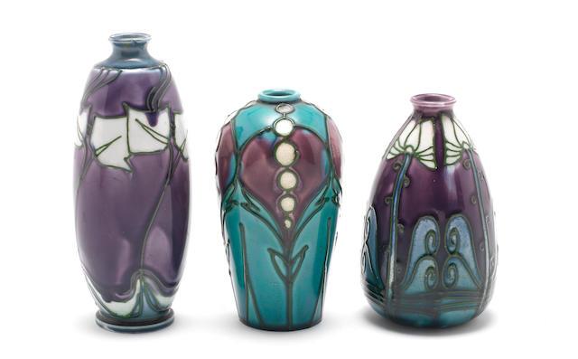 John Wadsworth for Minton Three 'Secessionist' Vases, circa 1905