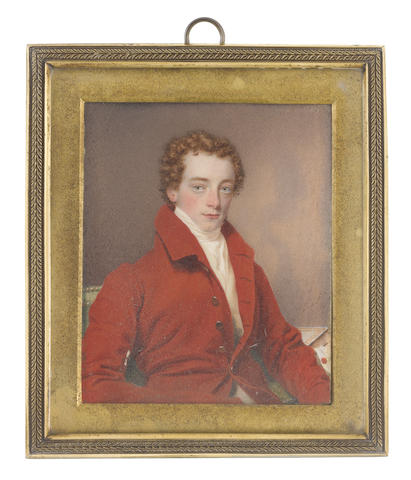 Samuel John Stump (British, 1778-1863) John Mytton (1796-1834), seated on a green upholstered chair, wearing red coat, cream waistcoat, white chemise, stock and cravat