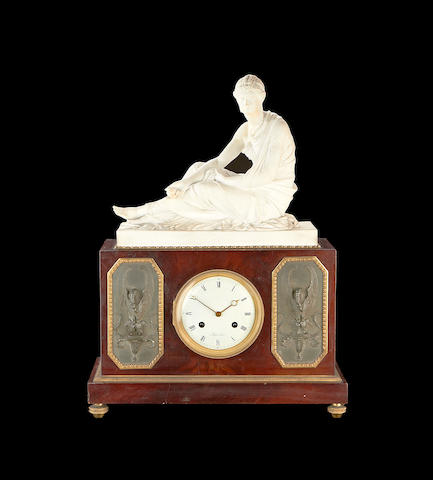 An early 19th century French mahogany, bronze, ormolu and biscuit porcelain mounted mantel clockby Jean-Nicolas Schmit, Paris, Maitre 1781,