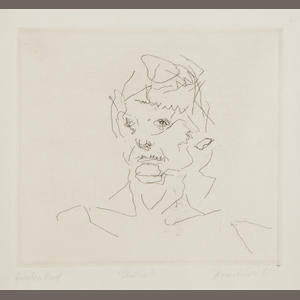 Frank Auerbach (British, born 1931) Julia (from Six etchings of heads series) Etching, 1981, on Arches, signed, dated, titled and inscribed 'Printers Proof' in pencil, aside from the edition of 50, printed by Terry Wilson of Palm Tree Studios, published by Bernard Jacobson Gallery, London, with full marginsm, 150 x 135mm (6 x 5 1/4in)(PL)(unframed)