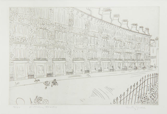 Anthony Gross (British, 1905-1984) Victorian houses, South Kensington Etching, 1935, signed, titled and numbered 14/50 in pencil, together with 'Bal de village, no. 2', etching, 1974, signed, titled and numbered 24/75 in pencil, 163 x 250mm (6 1/2 x 9 3/4in)(and smaller)(1 unframed)(2)