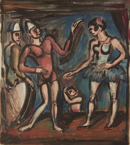 Georges Rouault (French, 1871-1958) La parade, from Cirque Aquatint printed in colours, 1930, on BFK Rives, from the edition of 160, 297 x 266mm (11 6/8 x 10 1/2in) (PL)
