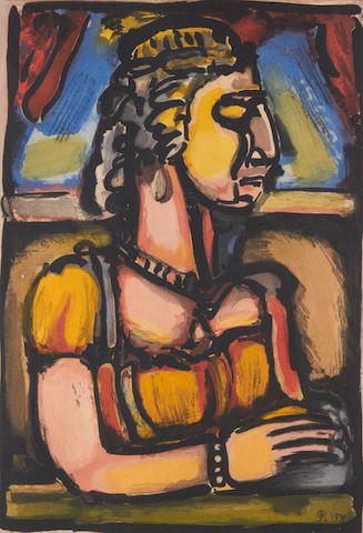 Georges Rouault (French, 1871-1958) Dame a la Huppe (from Passion) Aquatint printed in colours, 1935, on BFK Rives, signed and dated in the plate, 309 x 211mm (12 1/8 x 8 3/8in)(PL)
