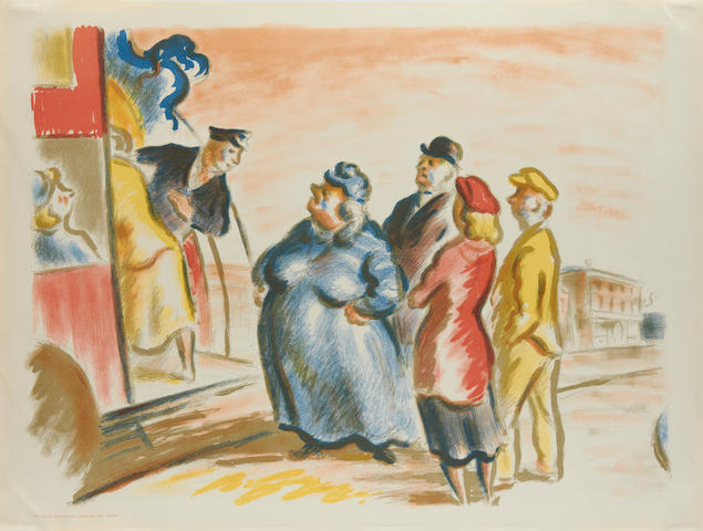 Edward Ardizzone (British, 1900-1979) The Bus Stop Autolithograph printed in colours, circa 1938, on machine-made lithographic cartridge paper, printed by Curwen Press, published by Contemporary Lithographs Ltd., London, 508 x 672mm (20 x 26 1/2in)(SH)(unframed)