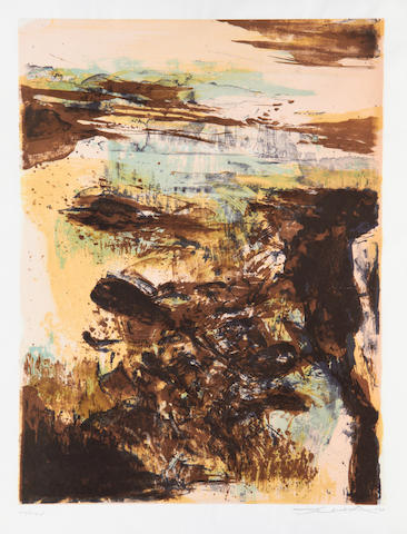 Zao Wou-Ki (French, born 1921) Untitled, pl. IV (from Elégie pour Jean-Marie)???(A.296) Lithograph printed in colours, 1977, on wove, signed, dated and inscribed VII/XXXV, a proof aside from the edition of , 431 x 323mm (17 x 13 3/4in)(SH)