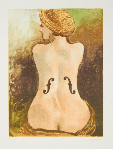 Man Ray (American, 1890-1976) Le violon d'Ingres (Anselmino 84)  Offset lithograph printed in colours, 1969, on wove, signed and numbered 70/150 in pencil, published by Kung, with margins, 490 x 360mm (10 1/4 x 14 1/8in)(I)(unframed)