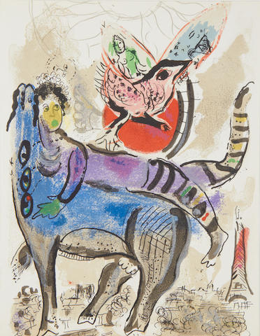 Marc Chagall (Russian/French, 1887-1985) The Blue Cow (Mourlot 488) Lithograph printed in colours, 1967, on wove, as published in XXe Siècle no.29, 305 x 238mm (12 x 9 3/8in)(SH); together with 'Le Bouquet de l'Artiste' (M.410), lithograph, 1964 and 'The Green Acrobat' (M.946), lithograph, 1979, various sizes (3)(unframed)