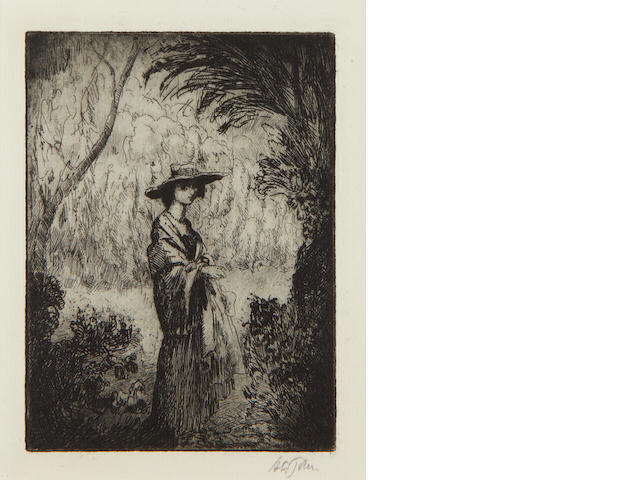 Sir Augustus Edwin John (British, 1878-1961) Virginia Etching, 1906, on laid, signed in pencil, from the edition of 25, with margins, 130 x 102mm (5 1/8 x 4in)(PL)