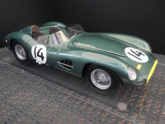 A 1:8 scale scratch-built model of the 1957 Aston Martin DBR1, by Javan Smith,