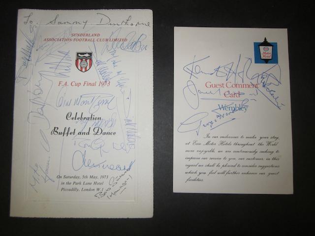 1973 F.A. Cup final hand signed celebration dinner menu
