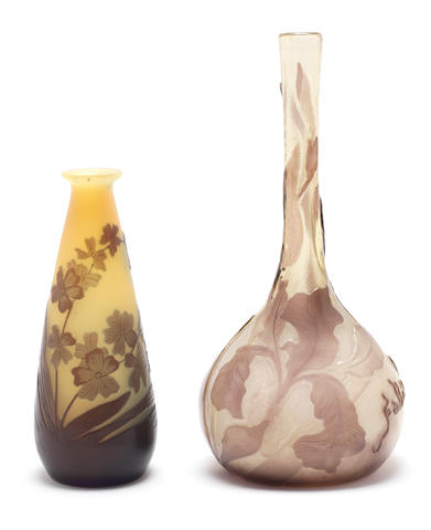 Emile Gallé Two Cameo Glass Vases, circa 1900