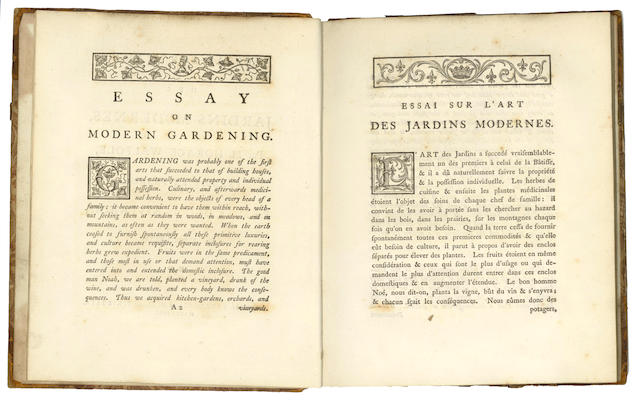 WALPOLE (HORACE) Essay on Modern Gardening, Strawberry Hill, 1785