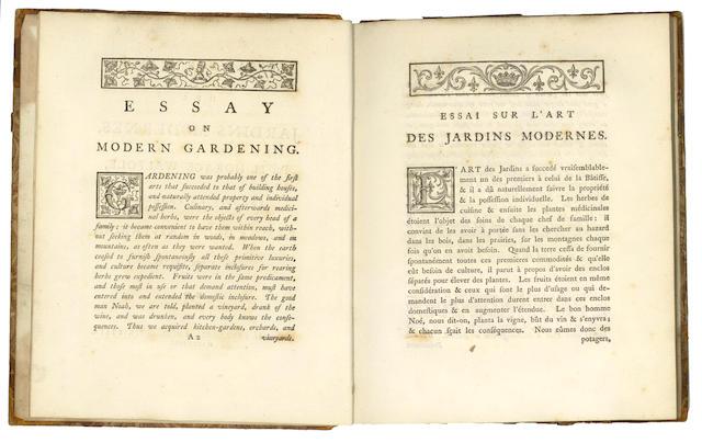 WALPOLE (HORACE) Essay on Modern Gardening, Strawberry Hill, 1785