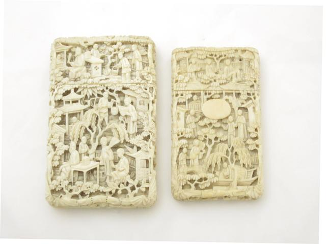 Two Canton export ivory card cases and a carved ivory photograph frame 19th century