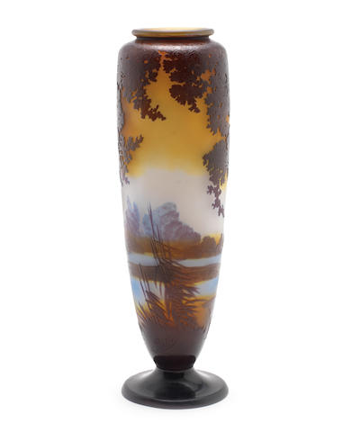 An Emille Galle cameo vase, signed