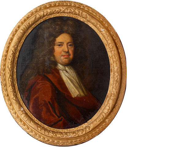 Circle of Jonathan Richardson (British, 1665-1745) Portrait of a gentleman, bust length, believed to be James Machen of Goucester,