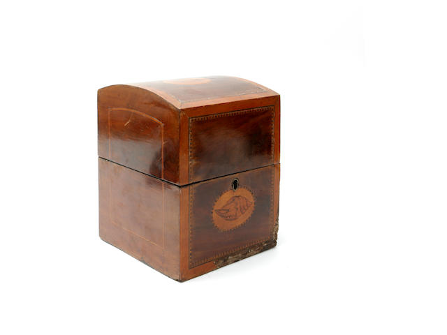 A late 18th century Dutch marquetry decanter box