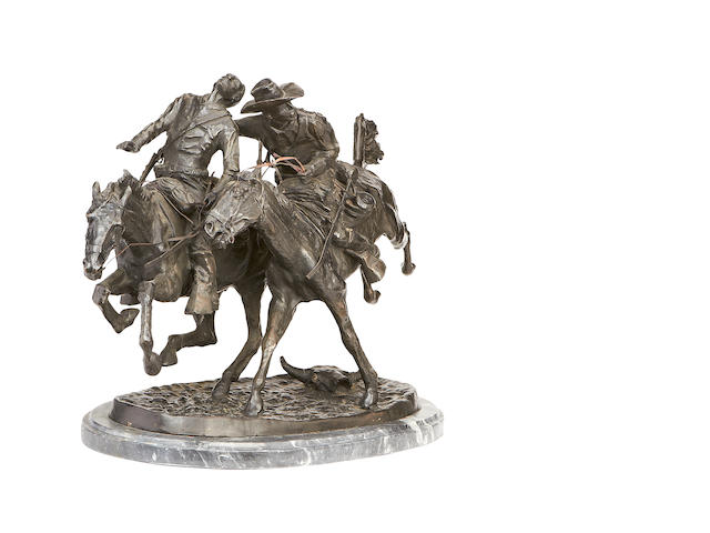 After Frederic Remington, American (1861-1909) A 20th century bronze group of the Wounded Bunkie
