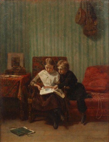 Théophile Emmanuel Duverger (French, 1821-1886) Two children reading in an interior