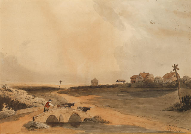 Follower of David Cox Jnr (British, 1809-1885) Figure in a landscape