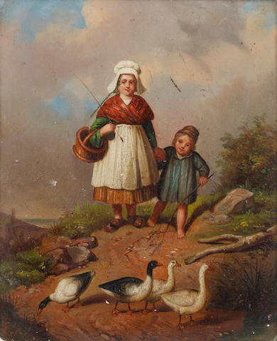 Dutch School, Mid-19th Century Woman and child with geese on a track