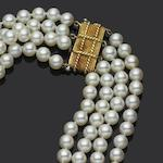 A four-strand cultured pearl necklace, by David Webb